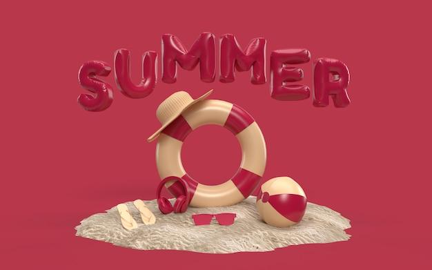 3d-tekst zomer op strandeiland met zonneglas, slippers, bal, ring zwevend. openlucht ontspanningsseizoen met exemplaarruimte voor. ontwerp van zomervakantie vakantie concept. 3d-weergave