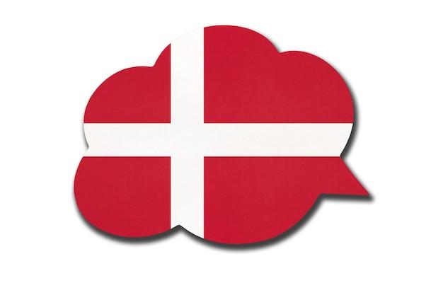 3d tekstballon met de nationale vlag van denemarken