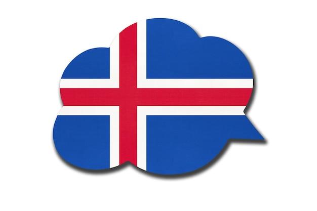 3d tekstballon met de nationale vlag van ijsland