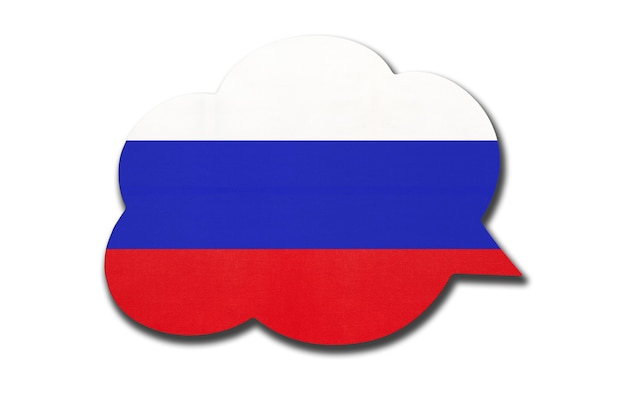 3d tekstballon met de nationale vlag van rusland