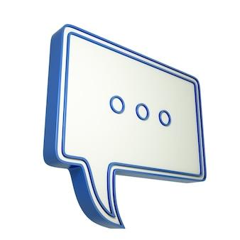3d-tekstballon met drie puntjes. 3d-afbeelding met chat-pictogram.