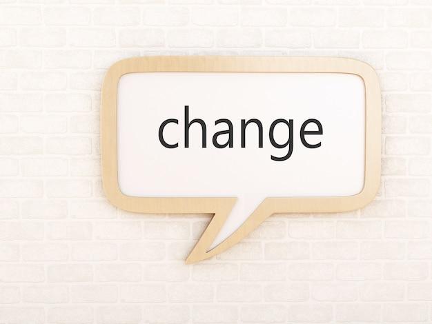 3d-tekstballon met verandering