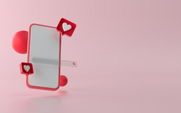 3d-telefoonillustratie met sociale media zoals meldingsknop