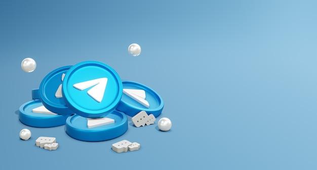 3d telegram social media-logo's met muntmodel en chatpictogram