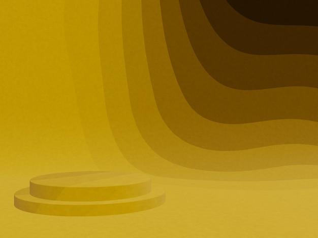 3d teruggegeven abstract geel grafisch contourpodium