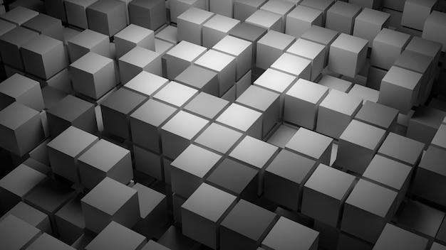 3d teruggegeven abstracte achtergrond met heel wat vierkanten. meerlaagse structuur met willekeurig verdwijnende elementen.