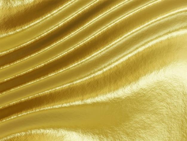 3d teruggegeven abstracte golvende gouden achtergrond