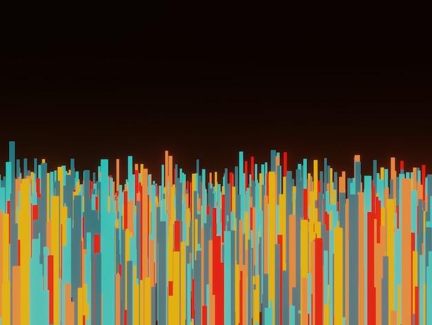 3d teruggegeven abstracte willekeurige kleurrijke geometrische staven op zwarte achtergrond.