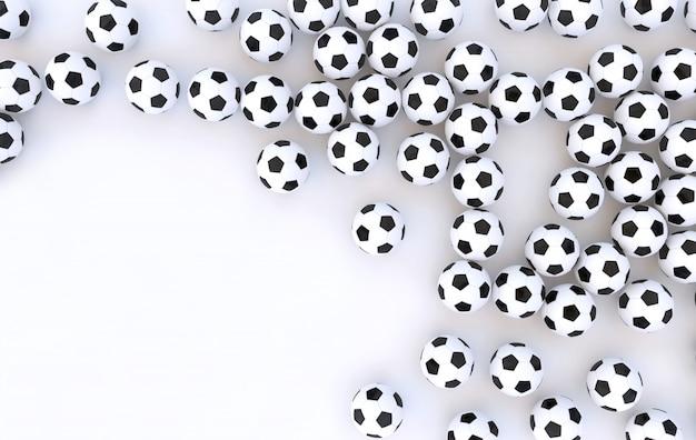3d teruggegeven achtergrond van voetballen die op wit wordt geïsoleerd