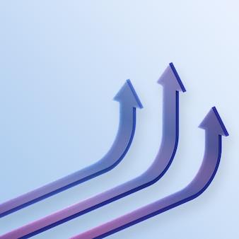3d teruggegeven bedrijfspijl omhoog richtingconcept aan succesdoel. visie op het gebied van financiële groei die zich uitstrekt, opstaan.