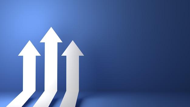 3d teruggegeven bedrijfspijl omhoog richtingconcept tot succesdoel