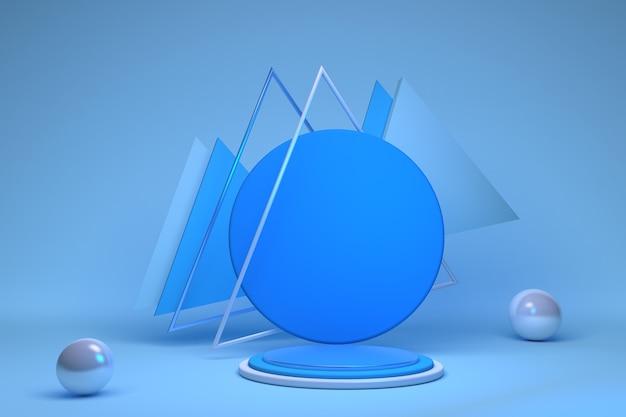 3d teruggegeven blauw wit met geometrische vormen driehoeken en bollen leeg podium op de vloer platforms voor productpresentatie achtergrond abstracte compositie in minimaal ontwerp
