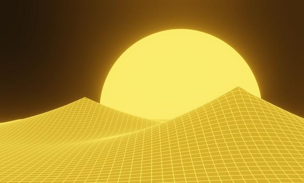 3d teruggegeven geel topografisch bergraster