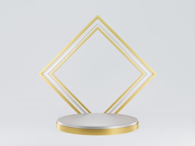 3d teruggegeven geometrisch goud en zilverpodium