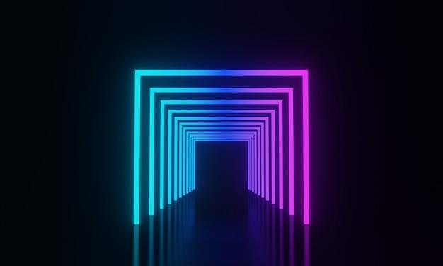 3d teruggegeven gloeiend neonlicht