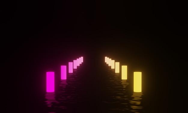 3d teruggegeven gloeiende neonlichtmasten