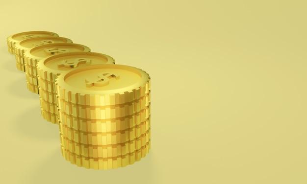 3d teruggegeven gouden munten. geld winst.