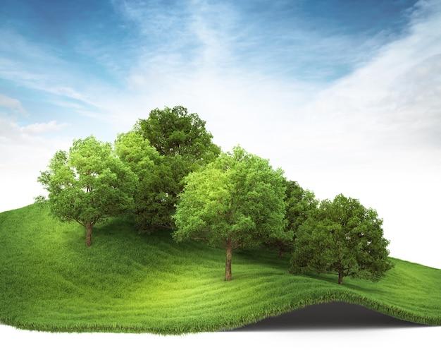 3d teruggegeven illustratie van een heuvel met bosje.