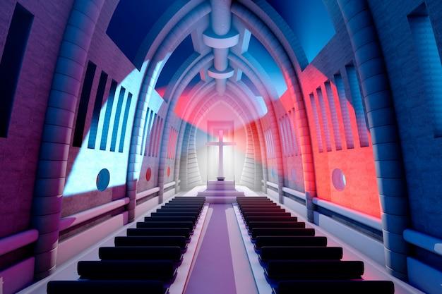 3d teruggegeven illustratie van een kathedraal interieur