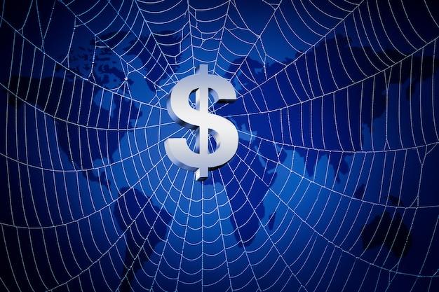 3d teruggegeven illustratie van een teken dollar en netto tegen wereldkaart.