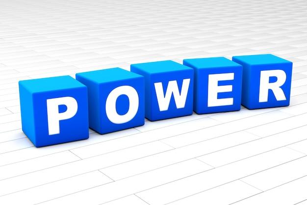 3d teruggegeven illustratie van het woord power