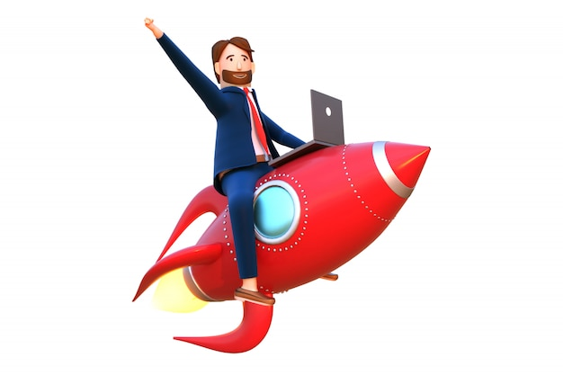 3d teruggegeven illustratie van zakenman vliegende raket.