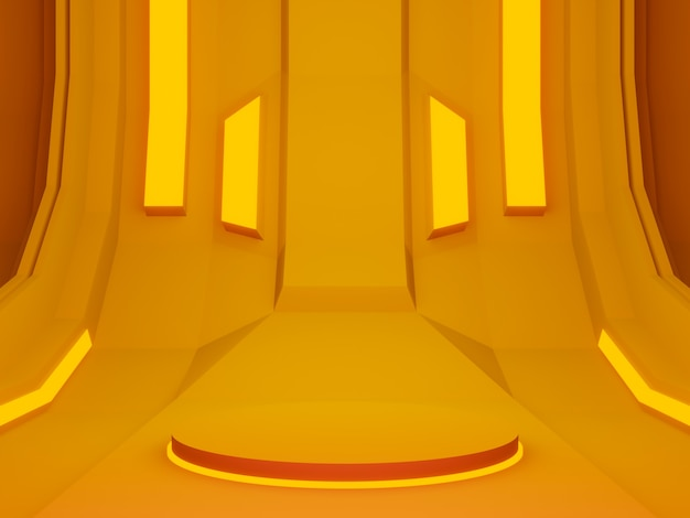 3d teruggegeven oranje futuristisch podium
