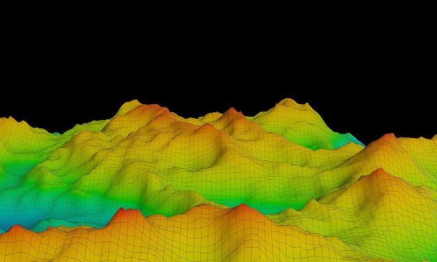 3d teruggegeven topografische berg. toon hoogtekleur blauw naar rood.