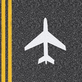 3d teruggegeven vliegtuigteken op asfaltweg
