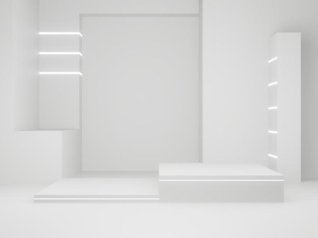 3d teruggegeven wetenschappelijke producttribune. witte podium.