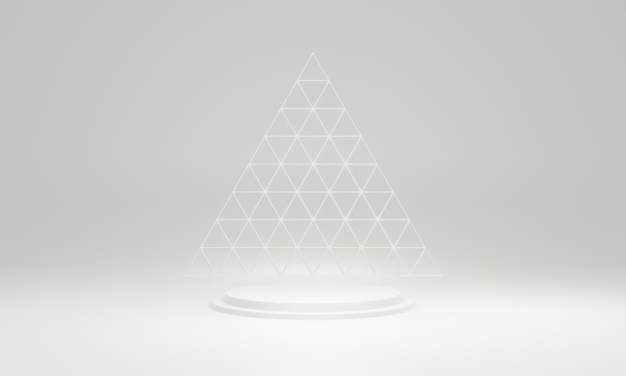 3d teruggegeven wit geometrisch podiumpodium