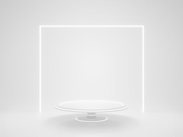 3d teruggegeven witte geometrische productstandaard en lichten