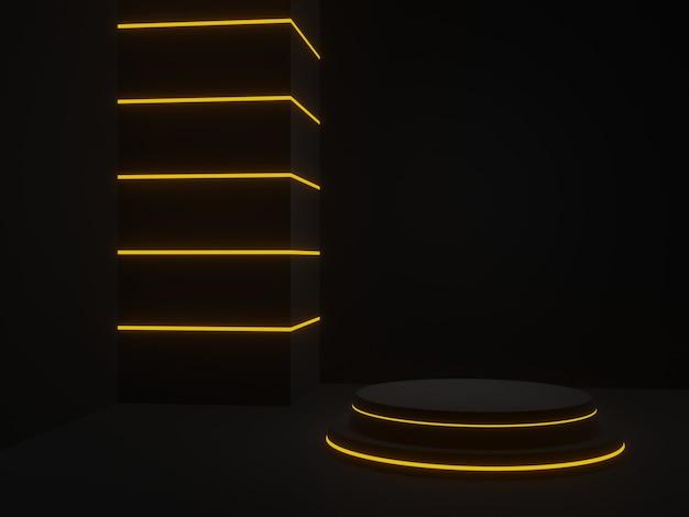 3d teruggegeven zwart futuristisch podium met gele neonlichten
