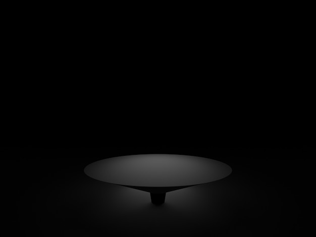 3d teruggegeven zwart geometrisch podium. donkere achtergrond.