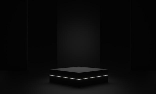 3d teruggegeven zwart geometrisch podium met wit neonlicht
