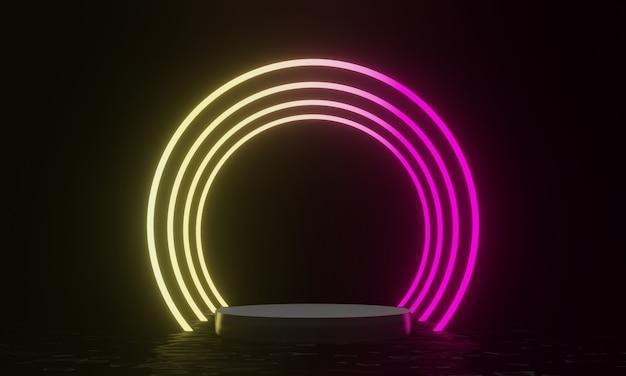 3d teruggegeven zwart podium en gloeiende neonlichtachtergrond