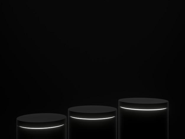 3d teruggegeven zwart podium met witte lichten. product staan.