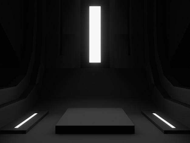 3d teruggegeven zwart podiumpodium.
