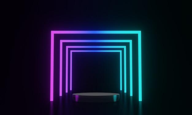 3d teruggegeven zwarte podium en neonlicht achtergrond