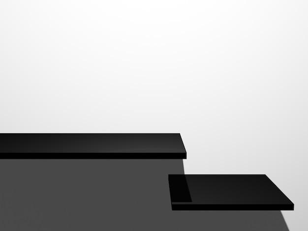 3d teruggegeven zwarte productplank op witte muurachtergrond