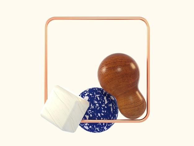 3d teruggevend abstract blauw marmeren houten vierkant koperkader van de vorm