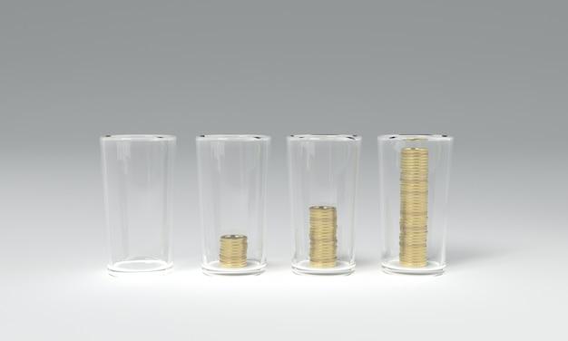 3d teruggevend beeld van het besparen van geldmuntstukken