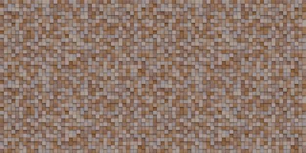 3d teruggevend beeld van kubieke houten mozaïekmuur Premium Foto