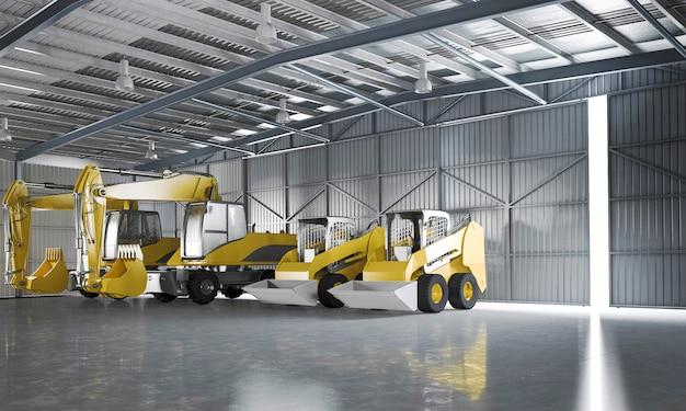 3d teruggevend pakhuis met gele tractor en logistiek concept