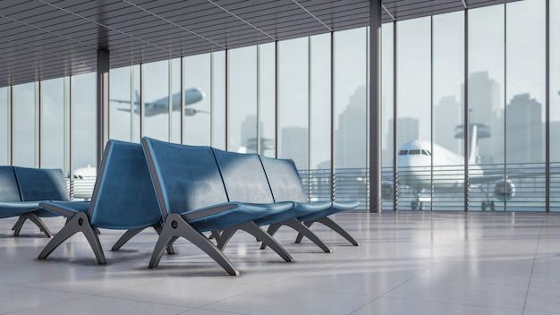 3d teruggevend wachtend gebied bij luchthaven eindillustratie