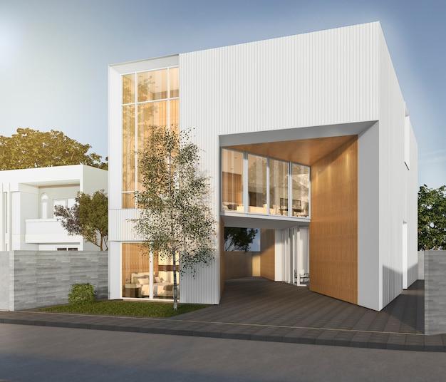 3d teruggevend wit kubiek huis met modern ontwerp