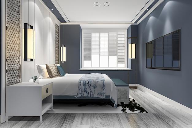 3d teruggevende blauwe reeks van de luxe chinese slaapkamer in toevluchthotel