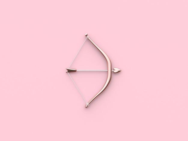 3d teruggevende boog en pijl de roze kleur van het valentijnskaartconcept