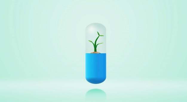 3d teruggevende capsuleboom jong boompje voor geneeskundeinhoud.