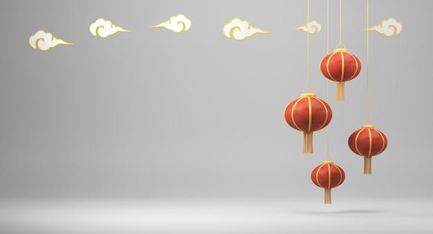 3d teruggevende chinese lantaarns op witte achtergrond